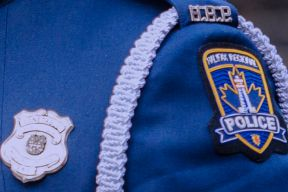 Close-up photo, taken side-on showing badge and shoulder flash on a dress tunic.