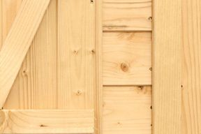 close up of side of wooden shed