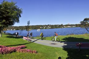 People walk, run, and cycle beside Lake Banook