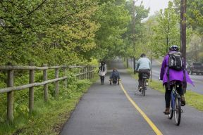 People walking, rolling and cycling on the Halifax Urban Greenway