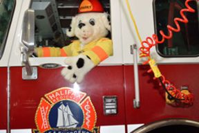 Photograph of Sparky the Fire Dog driving a fire truck with a Halifax Regional Fire & Emergency Logo on the side.