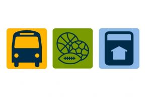 A yellow icon of a bus, a green icon of sports equipment, a blue icon of a tax receipt.