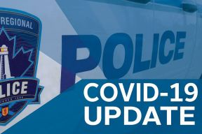 Graphic of patrol vehicle and text saying COVID-19 update