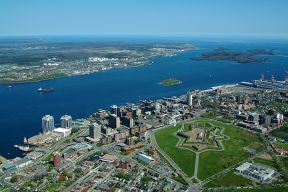 Aerial shot of the Citadel, Downtown Halifax, and Halifax Harbour