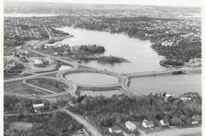 A black and white picture shows a 1970s aerial view of the Mic Mac rotary