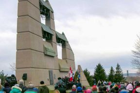 Crowd of people at the Needham Bell Tower