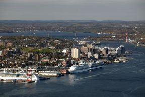 Aerial shot of the Halifax harbour