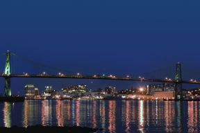 The Macdonald Bridge at night