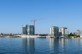 King's Wharf buildings under construction as seen from Dartmouth Cove