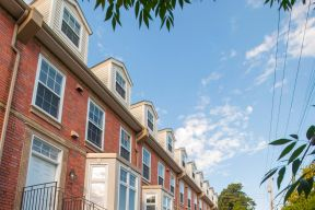 A row of townhouses on Brunswick Street on a sunny summer day