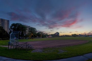 A baseball diamond on the Halifax Common at sunset