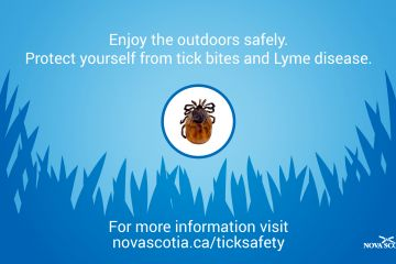 Blue screen with picture of tick and information from the Province on where to get more information about tick safety.
