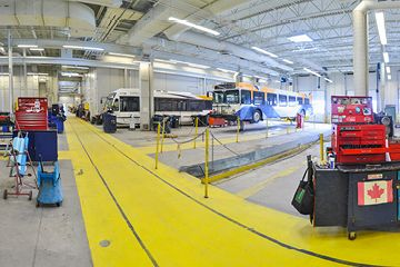 The interior of the Halifax Transit bus garage are shown