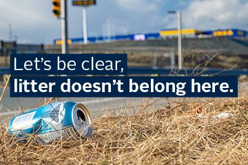 Litter on the side of the road in Dartmouth Crossing
