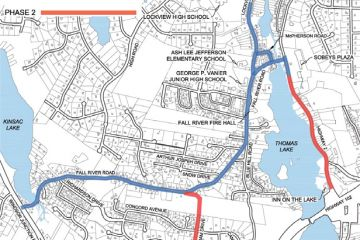 Map showing the areas of construction for the Fall River Water Main Extension Project