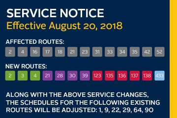 Service adjustments - Aug 20th