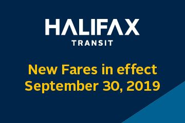 "Yellow text on a blue background reads ""new fares in effect Monday, Sept. 30, 2019"""