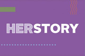 Purple image of the words Herstory